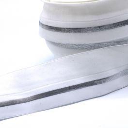BIAIS élastique blanc ligné argenté