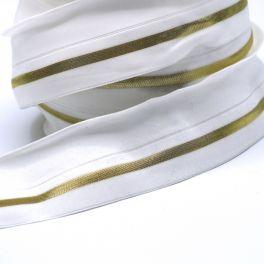 BIAIS élastique blanc ligné doré