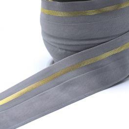 BIAIS élastique gris ligné doré