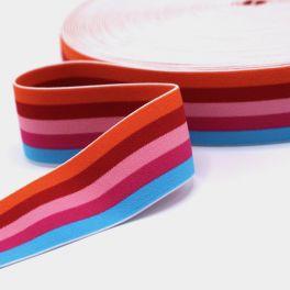 Ceinture élastique rayée multicolore