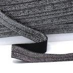 Elastische Biaisband met glitters - zwart