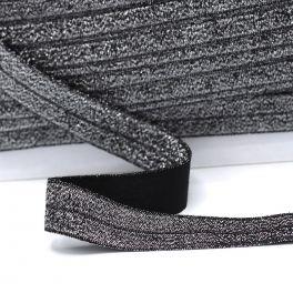 Biais élastique glitter noir