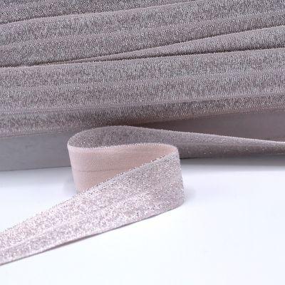 Elastische Biaisband met glitters - nude