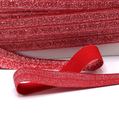 Elastische Biaisband met glitters - rood