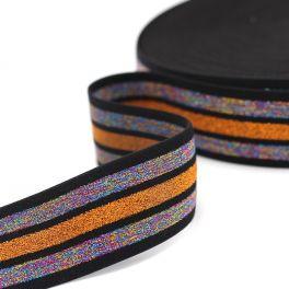 Ceinture élastique rayée Lurex multicolore