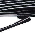 BIAIS élastique noir rayé argenté