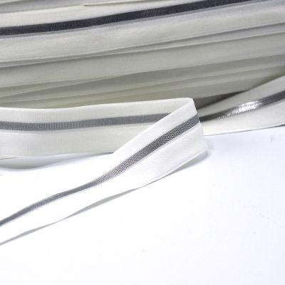 BIAIS élastique blanc cassé rayé argenté