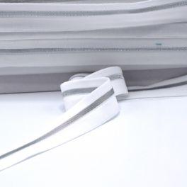 BIAIS élastique blanc rayé argenté