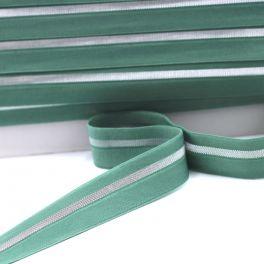 BIAIS élastique vert rayé argenté