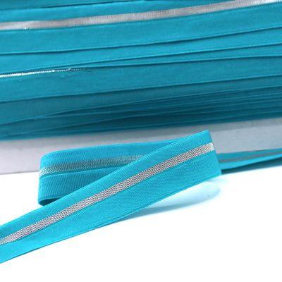 BIAIS élastique turquoise rayé argenté