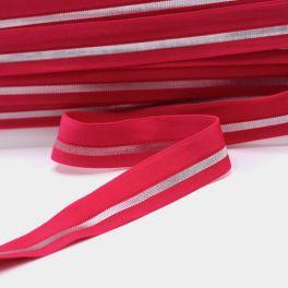 BIAIS élastique rouge rayé argenté