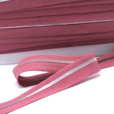 Grijze elastisch biaisband met zilveren streep