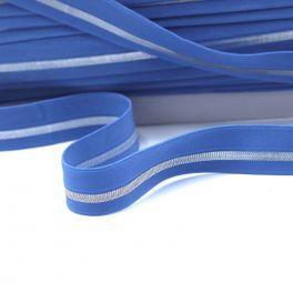 BIAIS élastique bleu rayé argenté
