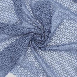 Grey lace fabric in polyester and elastane