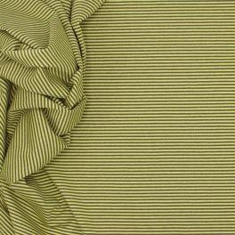 Tissu jersey en coton, polyester et élasthanne à lignes gris et vert fluo
