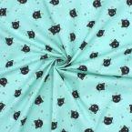 Tissu en coton vert d'eau imprimé têtes de chats
