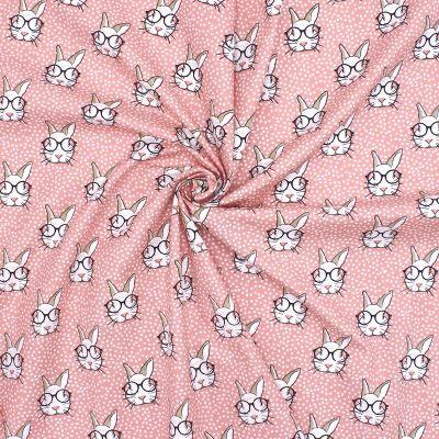 Tissu en coton corail imprimé têtes de lapins