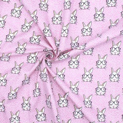 Tissu en coton rose imprimé têtes de lapins