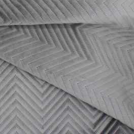 Polyester fabric skin look soft gray uni