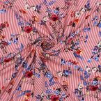 Tissu viscose à rayures et motif floral