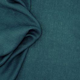 Tissu en 100% lin lavé uni bleu paon