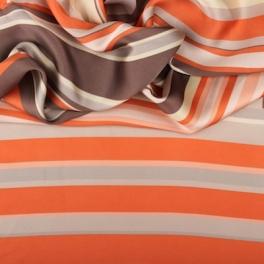 Polyester stof beige, oranje en bruin gestreept
