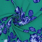 Fabric in polyester type crêpe with prints - green