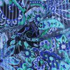 Voile polyester imprimé bleu, vert, gris