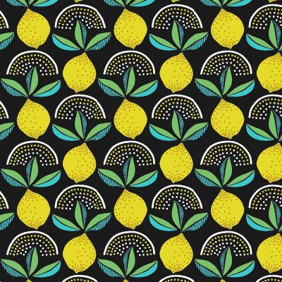 Oilcloth with lemons - black  background