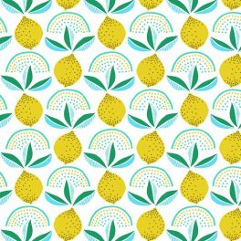 Oilcloth with lemons - white background