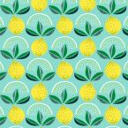 Oilcloth with lemons - sea green background