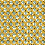 Oilcloth with flowers - mustard yellow background