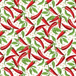 Oilcloth with peppers - white background