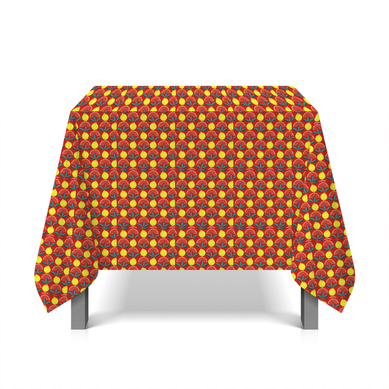 Oilcloth with lemons - red background