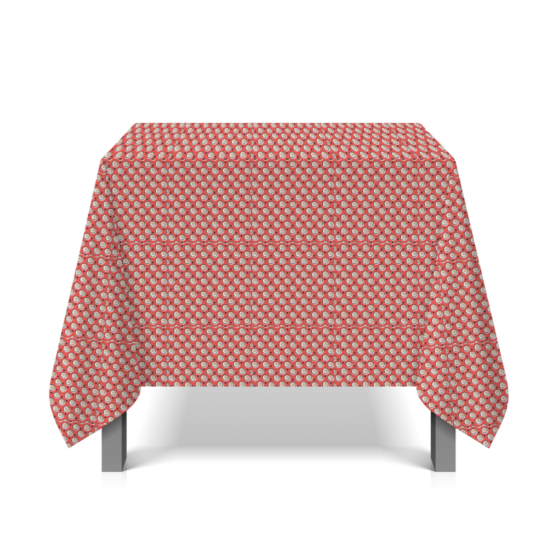 Oilcloth with flowers - red background
