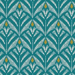 Oilcloth with prints - emerald green background