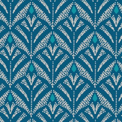 Oilcloth with prints - peacock green background
