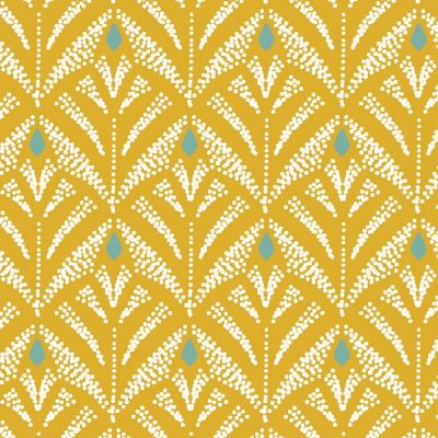 Oilcloth with prints - mustard yellow background