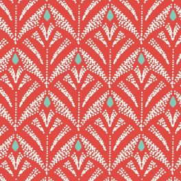 Oilcloth with prints - red background