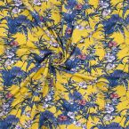 Jersey fabric with foliage print - mustard yellow