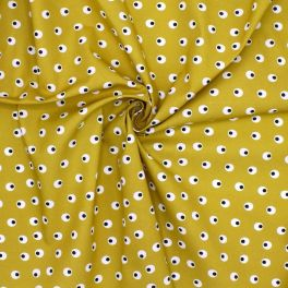 Tissu en coton imprimé sur fond ocre