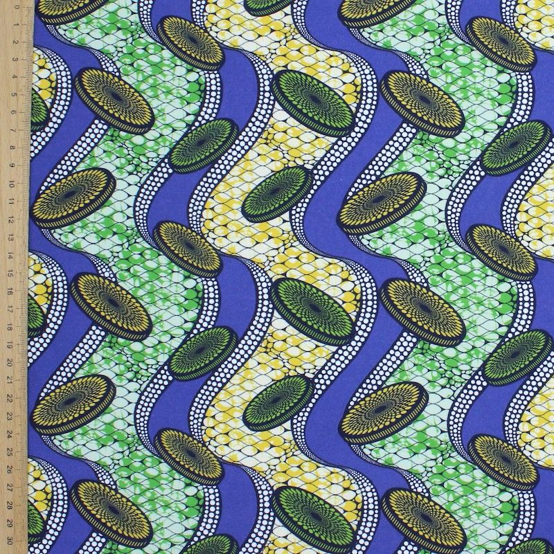 Cotton fabric with prints - blue, green, yellow