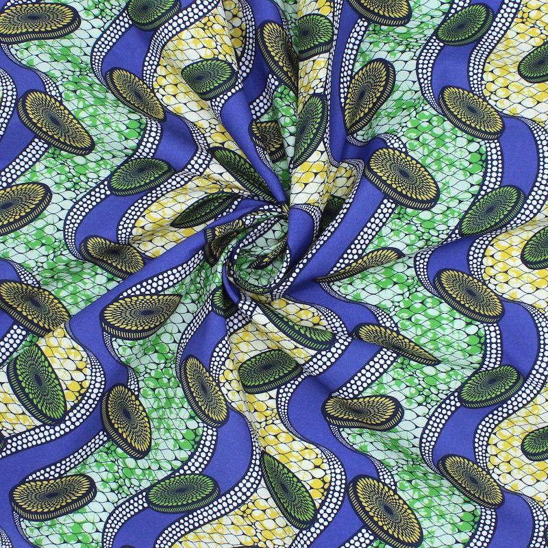 Tissu en coton imprimé bleu, vert et jaune