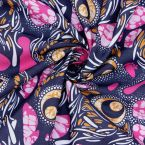 Cotton fabric with prints - navy blue background