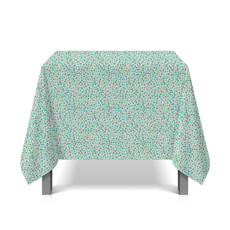 Oilcloth with turquoise leafs - white background