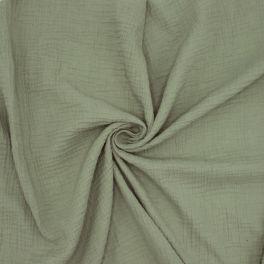 Tissu double gaze de coton kaki