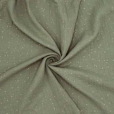 Tissu double gaze de coton kaki à pois dorés