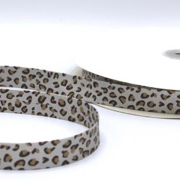 leather ribbon panther - silver