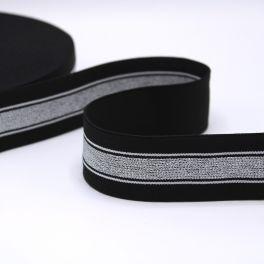 Ceinture élastique noir rayé argent et blanc