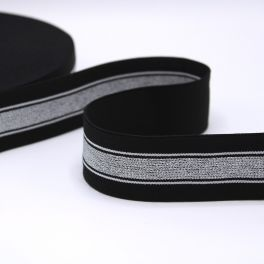 Zwarte elastische riem met zilveren en witte strepen